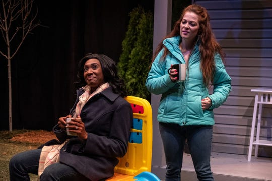 Cooped up on maternity leave and eager for conversation, Jessie (Breayre Tender), left,  invites the funny and forthright Lina (Dani Cochran) for coffee in their neighboring backyards. They become fast friends, quickly bonding over their shared new mom experience.