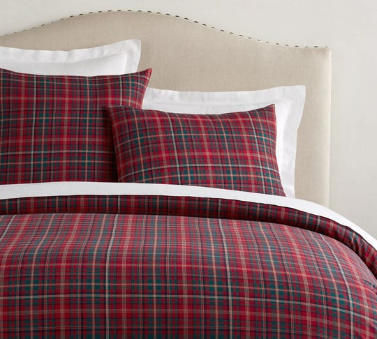 Lynbrook plaid duvet cover and sham from Pottery Barn.