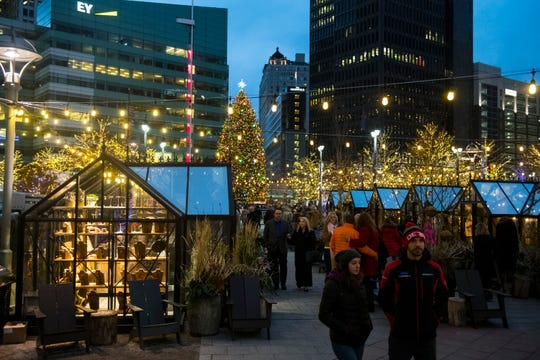 Shoppers flock to the holiday markets in downtown Detroit. The shops, which run through Jan. 13, are open Wednesday through Sunday weekly in Cadillac Square, Capitol Park and at 1441 Woodward Collective.