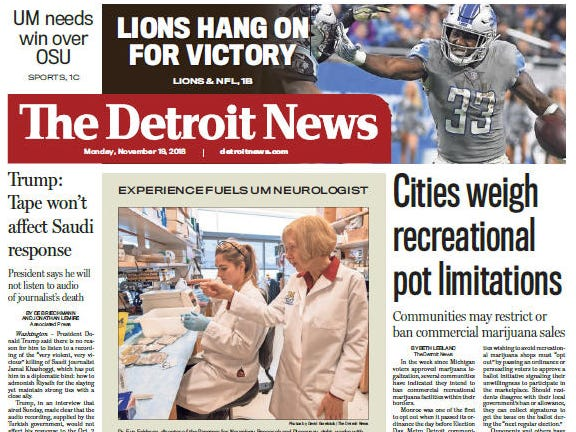 The front page of the Detroit News on Monday, November 19, 2018.