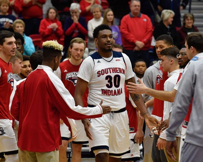 Josh Price is introduced before USI's home opener against Martin Methodist.