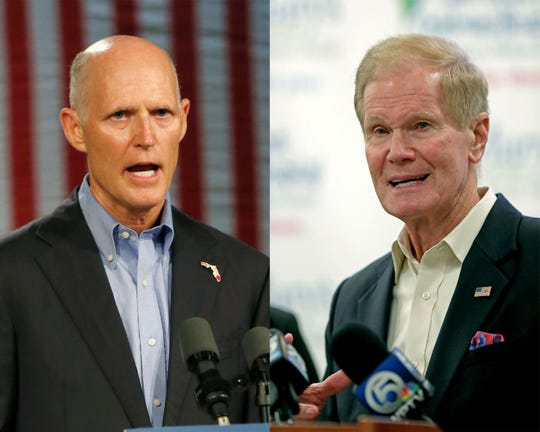 Florida Gov. Rick Scott, left, is hoping to unseat Sen. Bill Nelson, D-Fla., in the Senate race.
