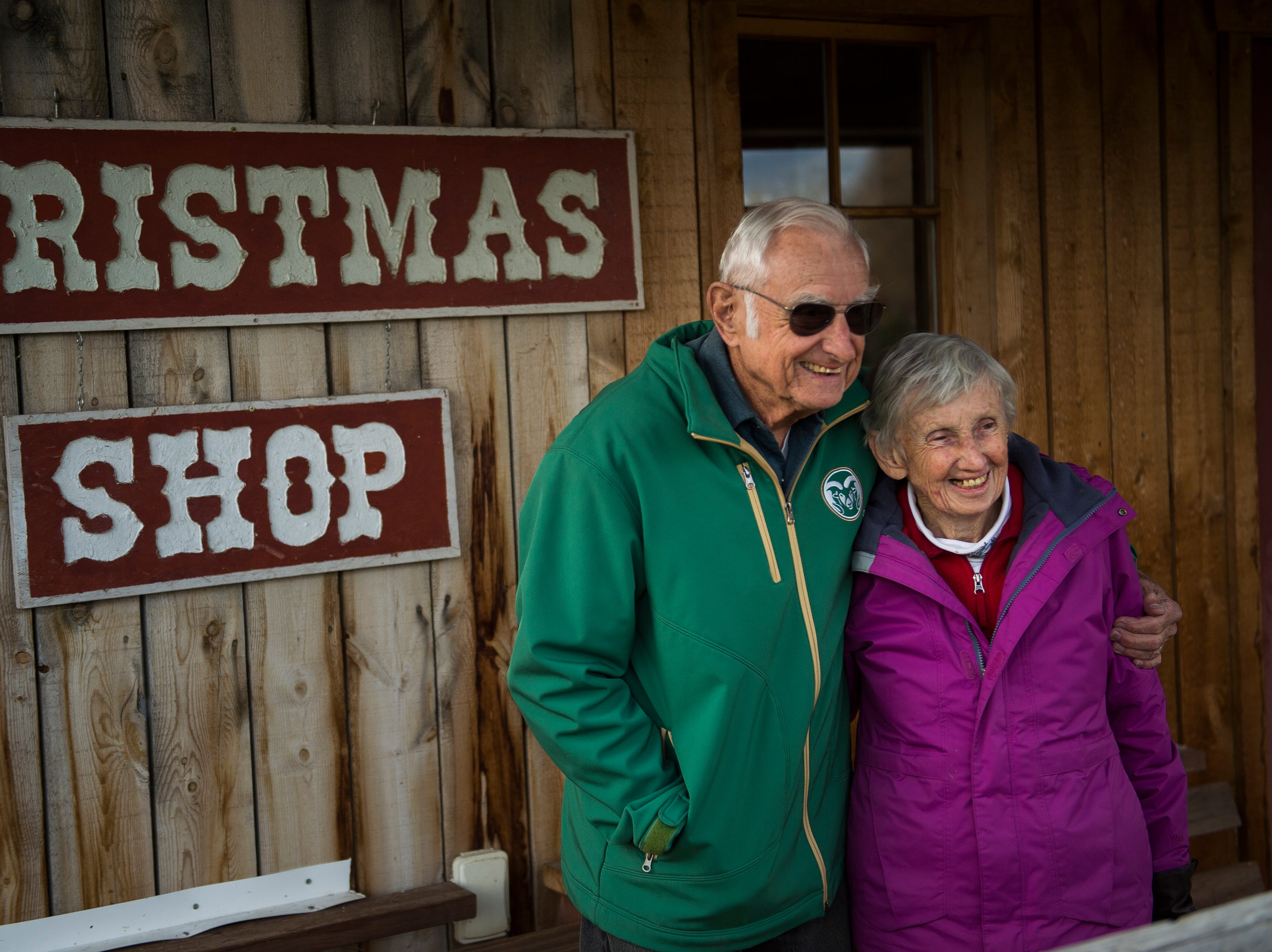 John and Janice Windsor pose for a portrait on Friday, Nov. 16, 2018, at Windsors' Christmas Trees in Windsor, Colo.