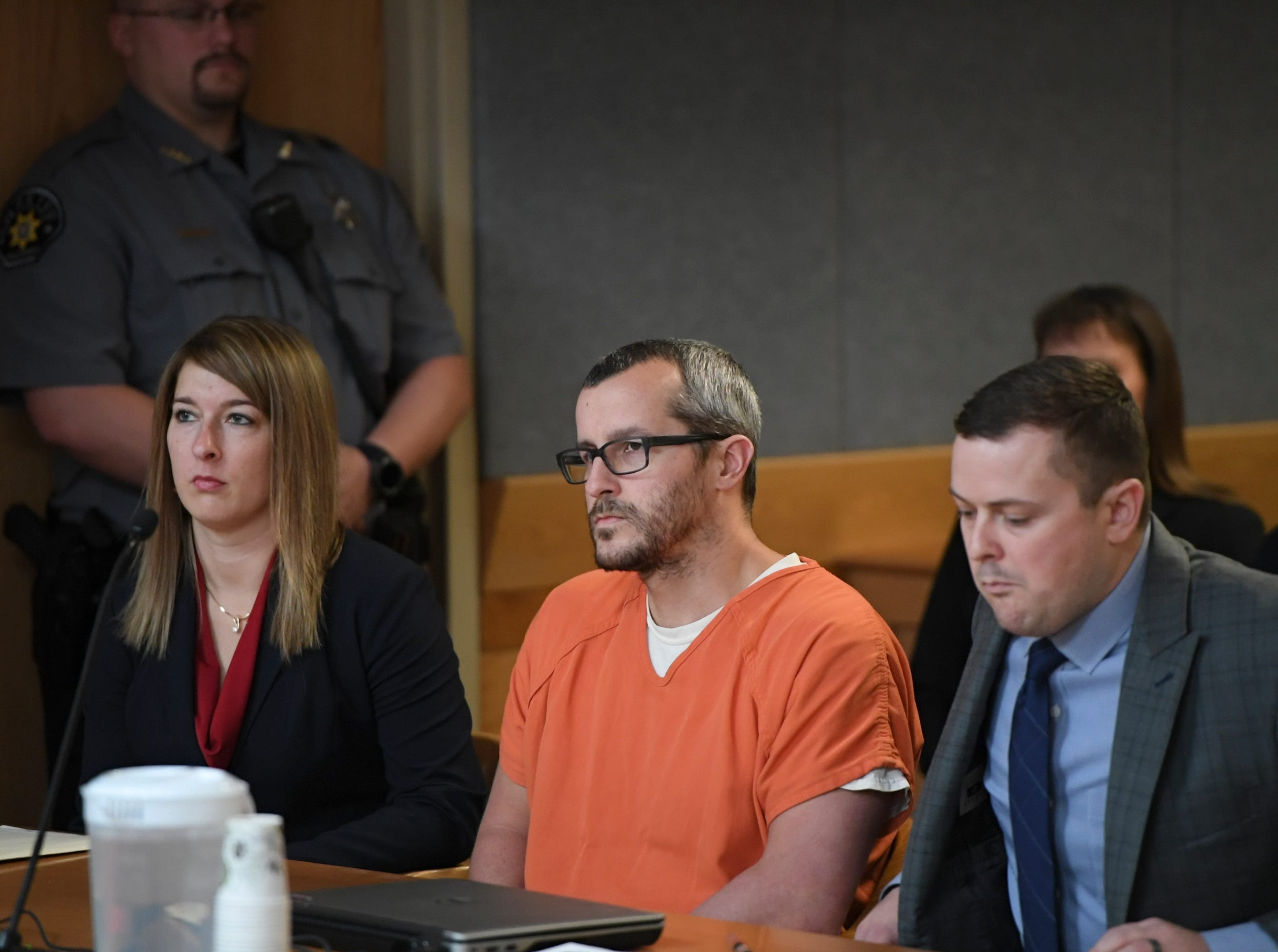 GREELEY CO - NOVEMBER 19: Christopher Watts sits in court for his sentencing hearing at the Weld County Courthouse on November 19, 2018 in Greeley, Colorado. Watts was sentenced to life in prison for murdering his pregnant wife, daughters. (Photo by RJ Sangosti/The Denver Post)