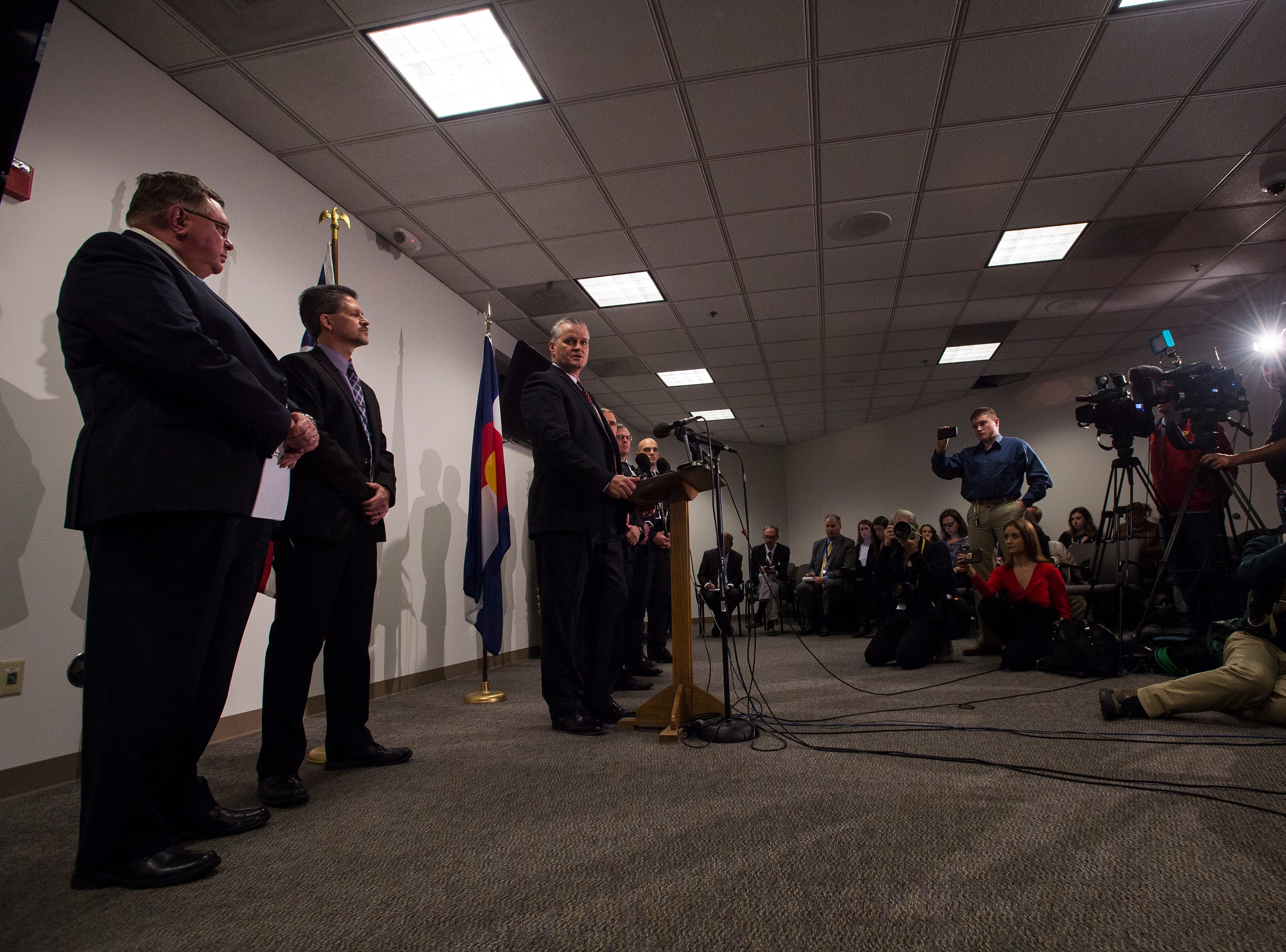 Weld County district attorney Michael J. Rourke speaks to members of the media during a press conference after the sentencing of Christopher Watts on Monday, Nov. 19, 2018, at the Weld County courthouse in Greeley, Colo.