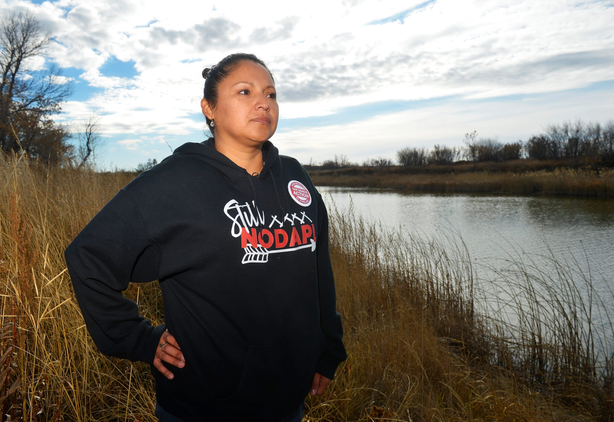 Marina Starr of Poplar, Mont., is protesting construction of the Keystone XL Pipeline across the Missouri River due to concerns of contamination from leaks in the pipeline.