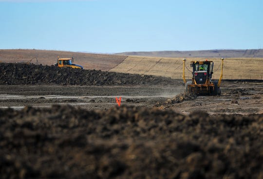 Dirtwork begins on the camp where workes will stay during construction of the Keystone XL Pipeline in Valley County.  Temporary work camps will be constructed to meet the housing needs of the construction workforce in remote locations.