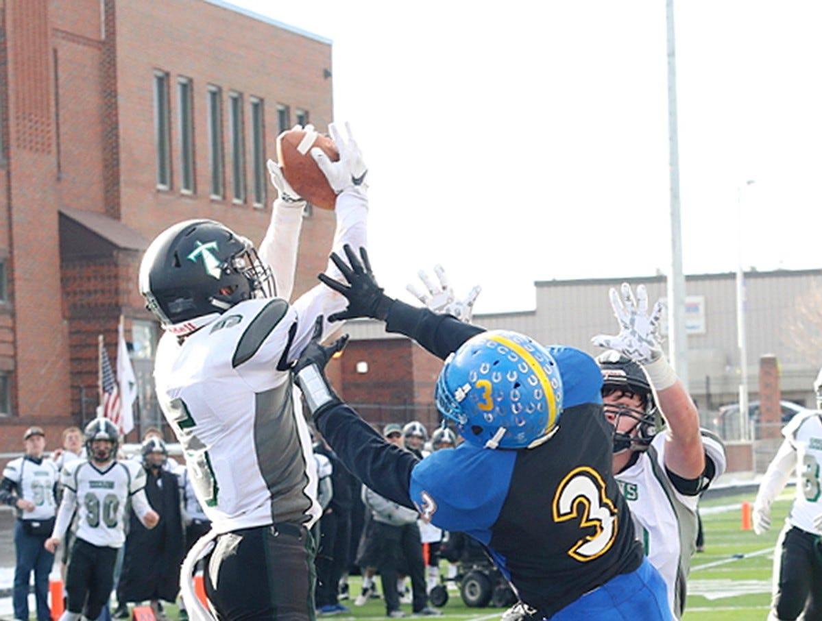 Flint Creek's Jaxon Lee makes an interception.