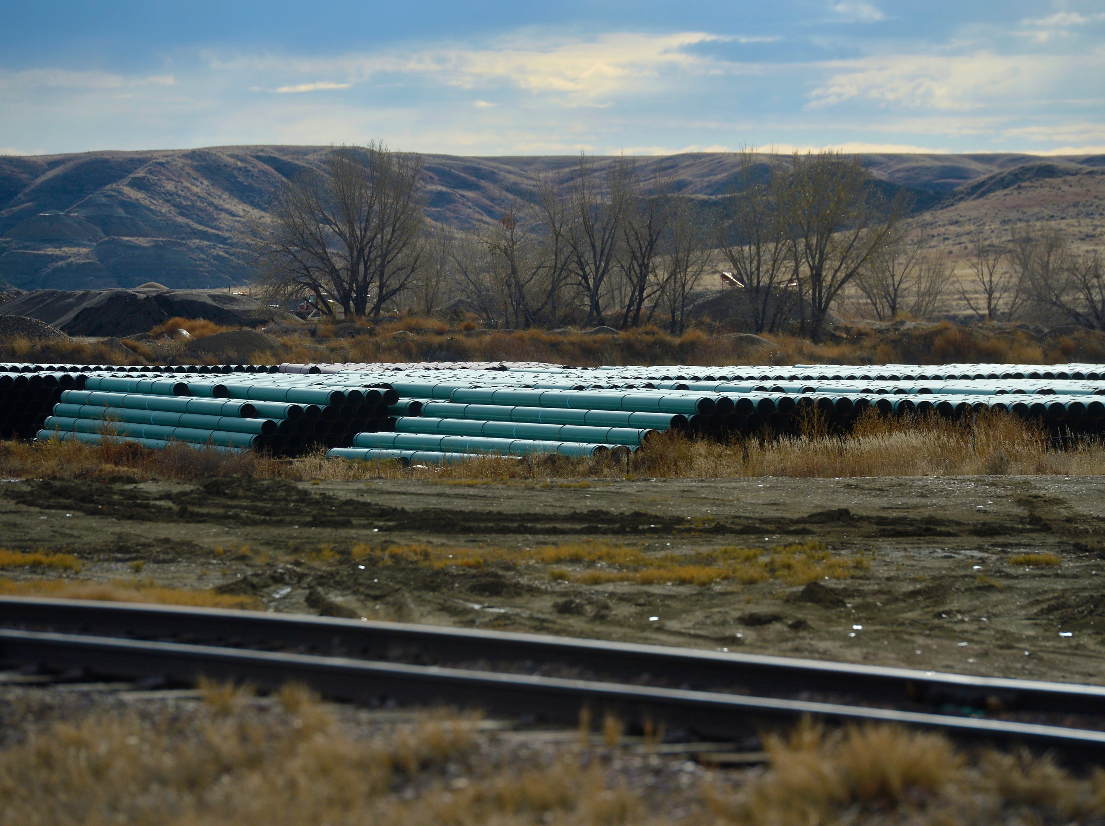 Pipe for the Keystone XL Pipeline is being transported to Montana by rail. It is offloaded outside of Glendive, Mont., and trucked to pipe yards along the construction route.