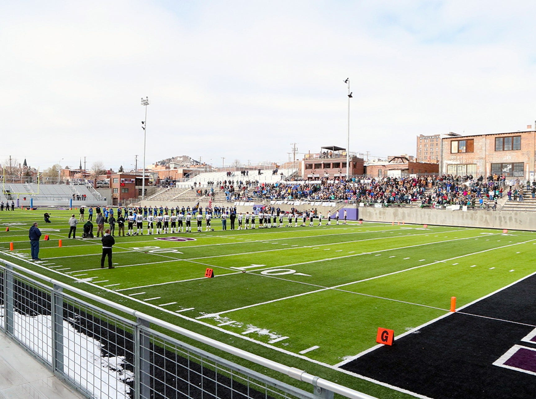 The Class C eight-man football championship between Great Falls Central and Flint Creek was at Naranche Stadium in Butte.