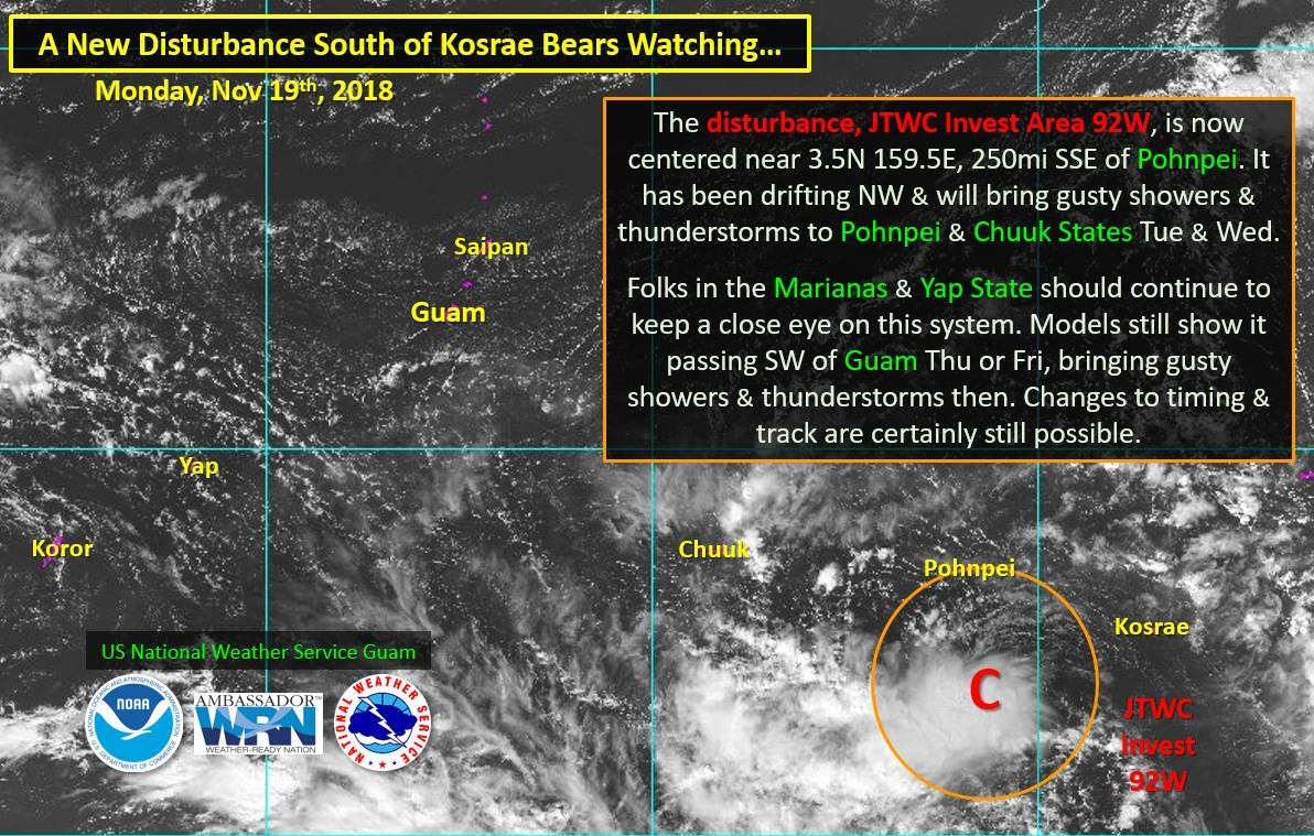As of 3 p.m. Monday Nov. 19, a weather circulation near Pohnpei was tracking to pass south of Guam Thursday or Friday possibly bringing showers and thunderstorms.