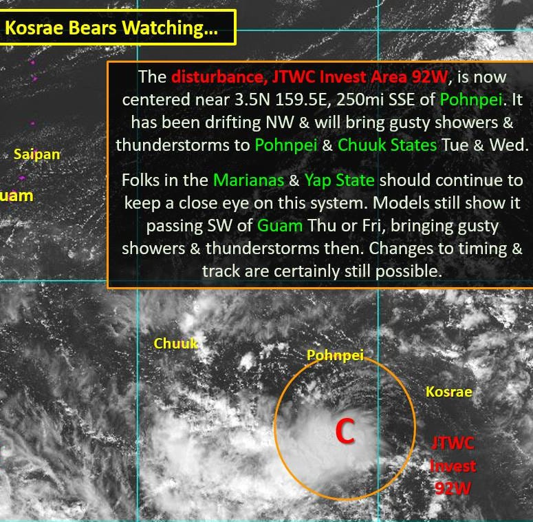 Weather experts in Guam keep eyes on developing circulation