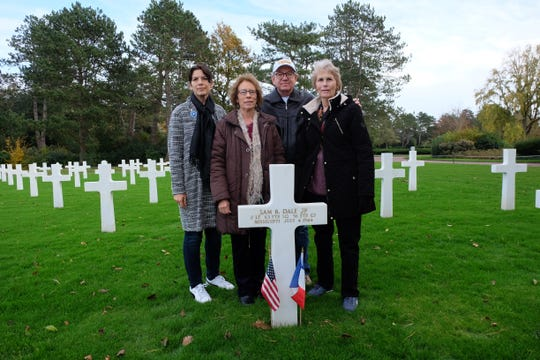 From left, Keltoum Rowland, Margaret Chance, Tony Chance and Barbara Broome in Normandy American Cemetery in Colleville-sur-Mer, France.