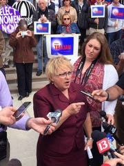 State Sen. Karen Tallian, D-Portage, announces her bid for Indiana governor, backed by friends, at a news conference outside the Indiana Statehouse in Indianapolis on Tuesday, May 12, 2015.