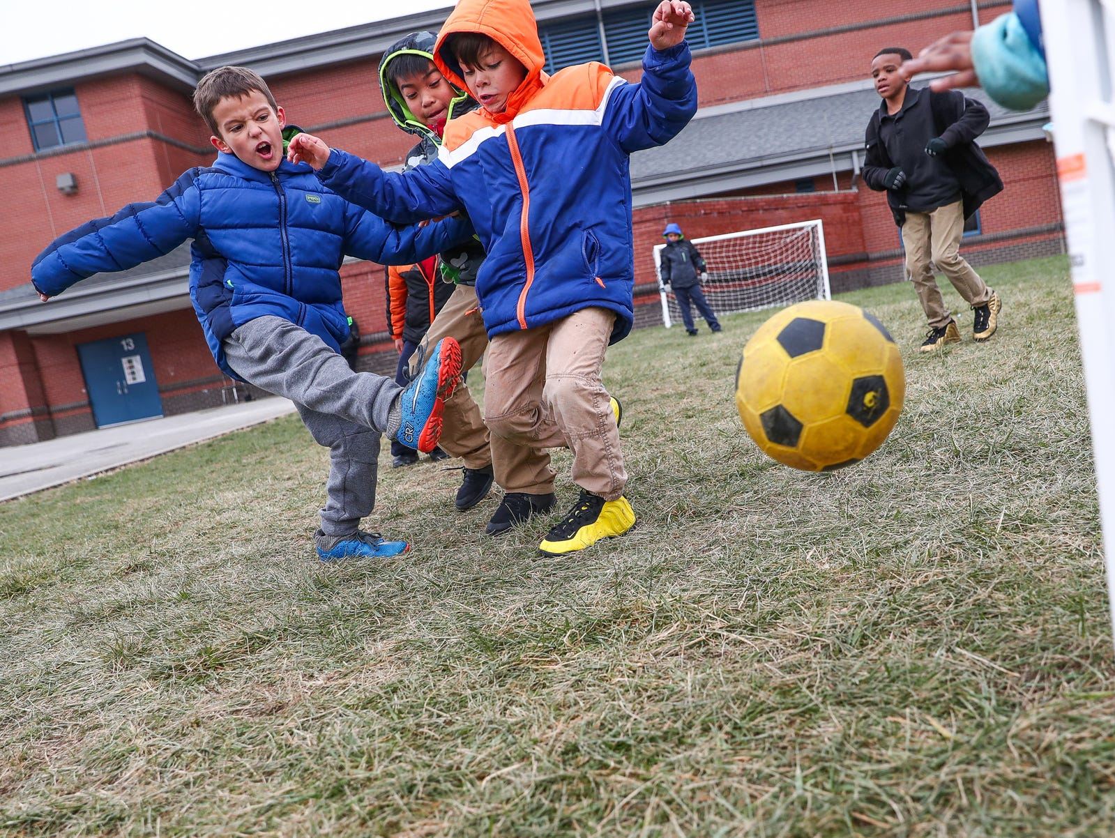 Brandon Romo shoots and scores during a game of soccer at Sunny Heights Elementary School on Friday, Nov. 16, 2018.