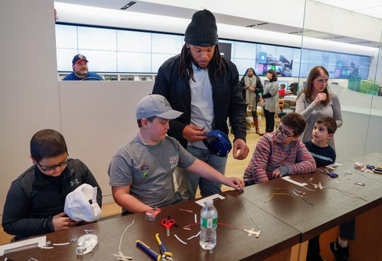 Colts defensive end Jabaal Sheard hung out with children fighting life-threatening illnesses at the Microsoft store at The Fashion Mall on Monday, Nov. 19, 2018.