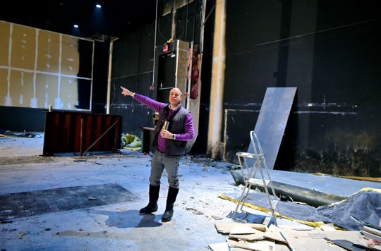 Joey Steinhagen, founder and artistic director of Running To Places Theatre Company, gives a tour of the new home of the youth theater company. After a decade of performing throughout the area in changing venues, Running To Places has found a permanent, spacious home in the former movie theater of The Shops at Ithaca Mall. November 15, 2018.