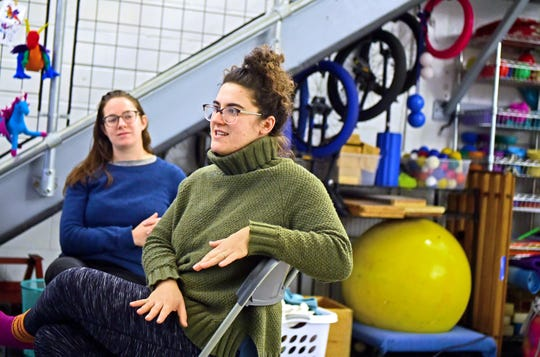 Amy Cohen, right, and Clair Dehm talk about the skills children can learn from the art of circus performance. Cohen is the founder and director of Circus Culture in downtown Ithaca, which offers circus classes for kids and adults. Dehm is the studio manager of Circus Culture.