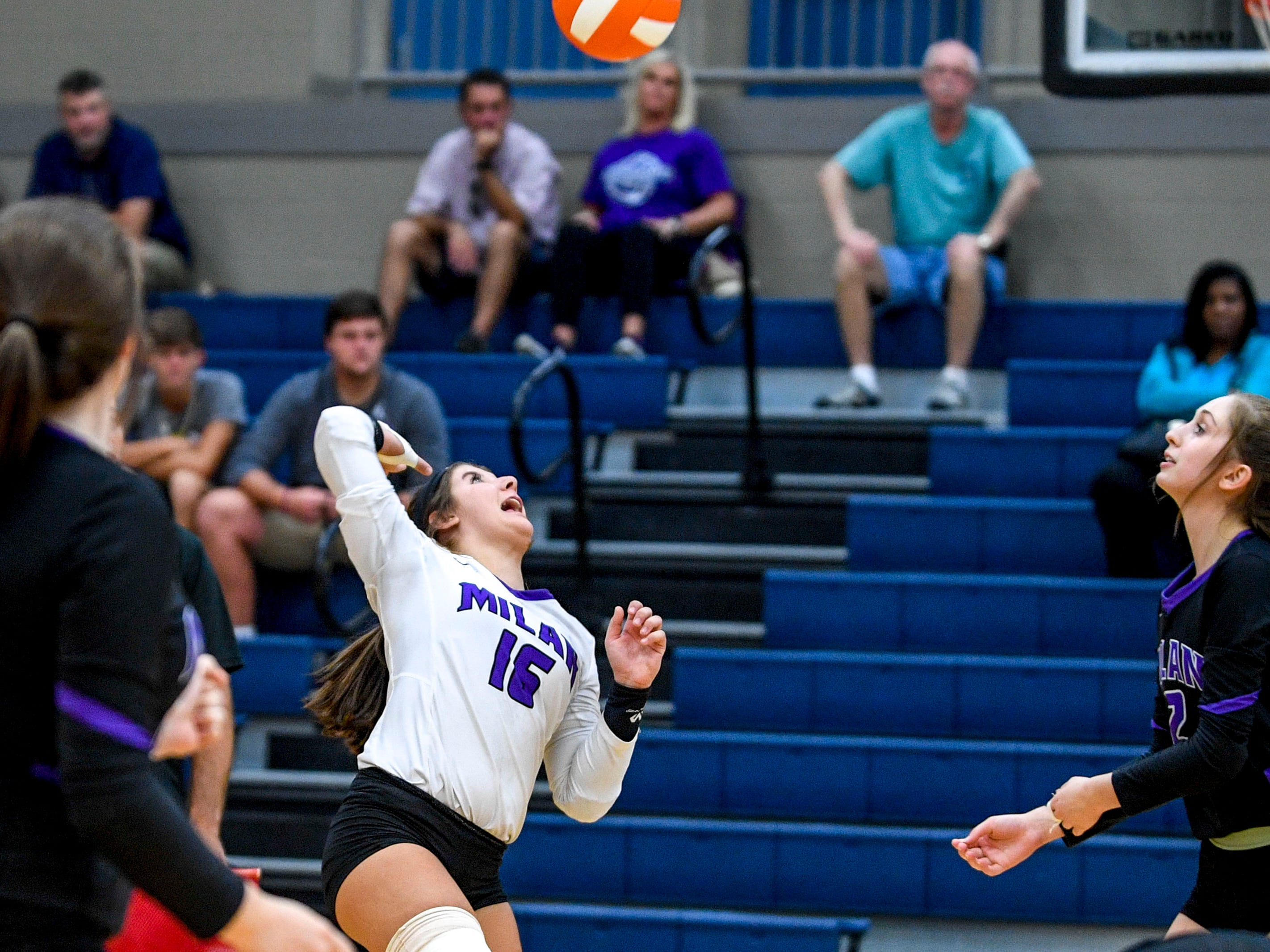 Bailee Graves (16) jumps to return a serve in a TSSAA volleyball game between Milan High School and South Gibson County at South Gibson County High School in Medina, Tenn., on Thursday, Sept. 13, 2018.