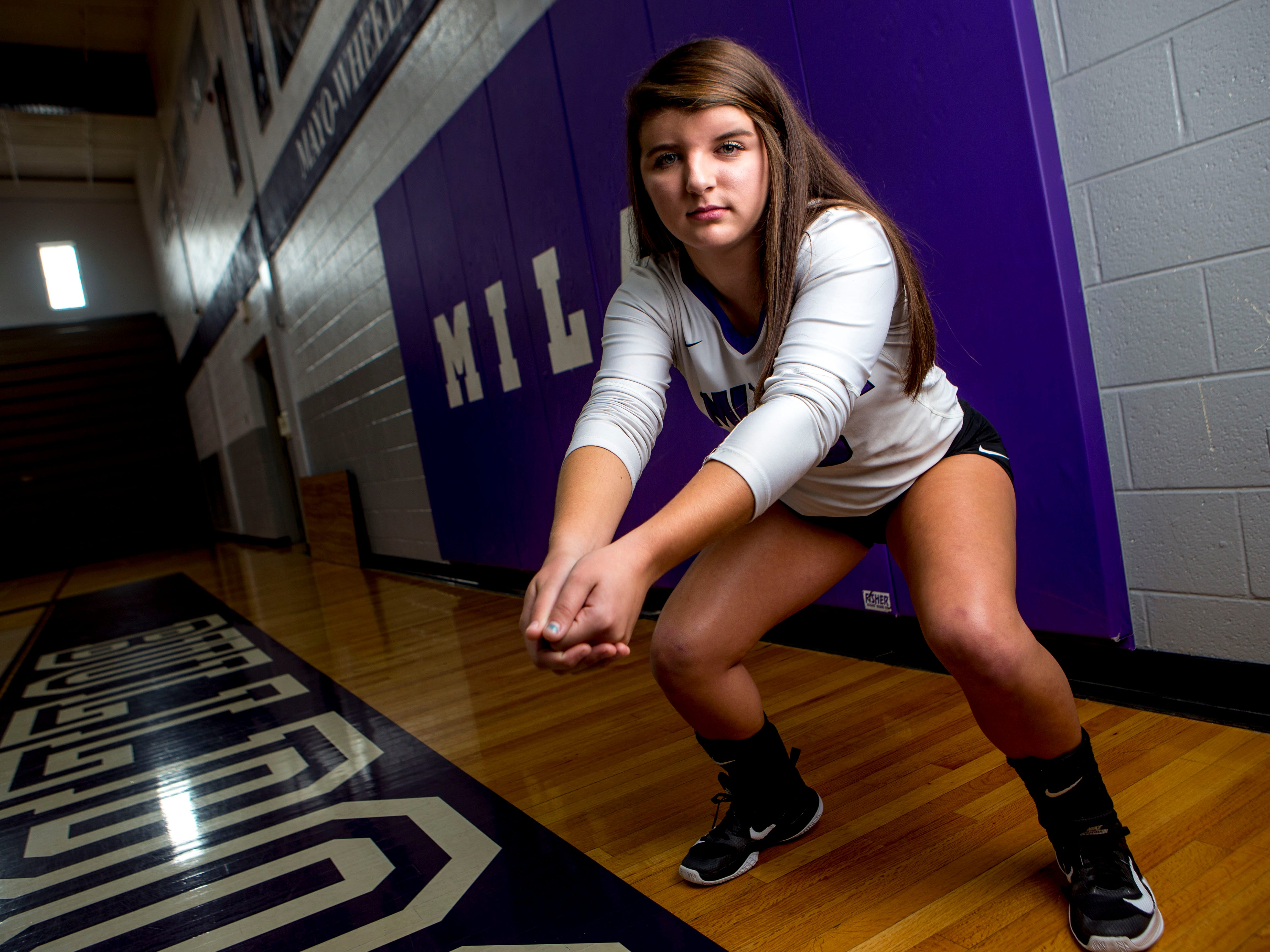 Bailee Graves, a senior volleyball player for Milan High School poses for a portrait at Milan High School in Milan, Tenn., on Tuesday, Sept. 25, 2018.