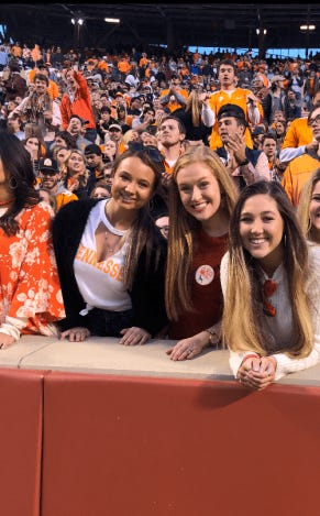 University of Tennessee student Hannah James stands between her friends, Hannah Walker (left) and Rachel Nicks (right) on Saturday at Neyland Stadium during the Vols loss to Missouri.