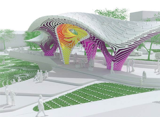 'Pier 865,' a sculpture created from stamped aluminum sheets by the Brooklyn, N.Y. firm THEVERYMANY, is being considered for what's now called the Cradle of Country Music Park in downtown Knoxville at the Summit Hill Drive-Gay Street intersection.