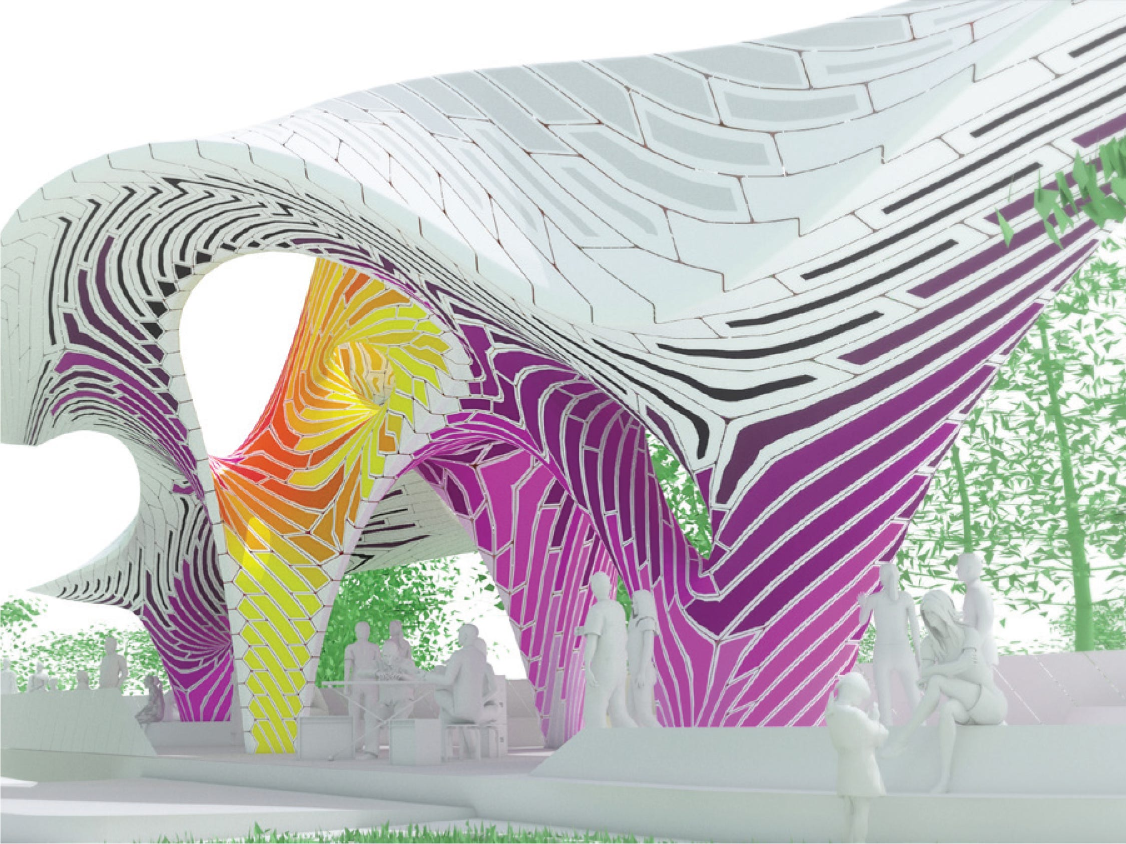 'Pier 865,' a sculpture created from stamped aluminum sheets by the Brooklyn, N.Y. firm THEVERYMANY, is being considered for what's now called the Cradle of Country Music Park in downtown Knoxville at the Summit Hill Drive-Gay Street intersection. While this drawing includes pink and purple, the stamped aluminum palette would be green, light green, yellow and white.