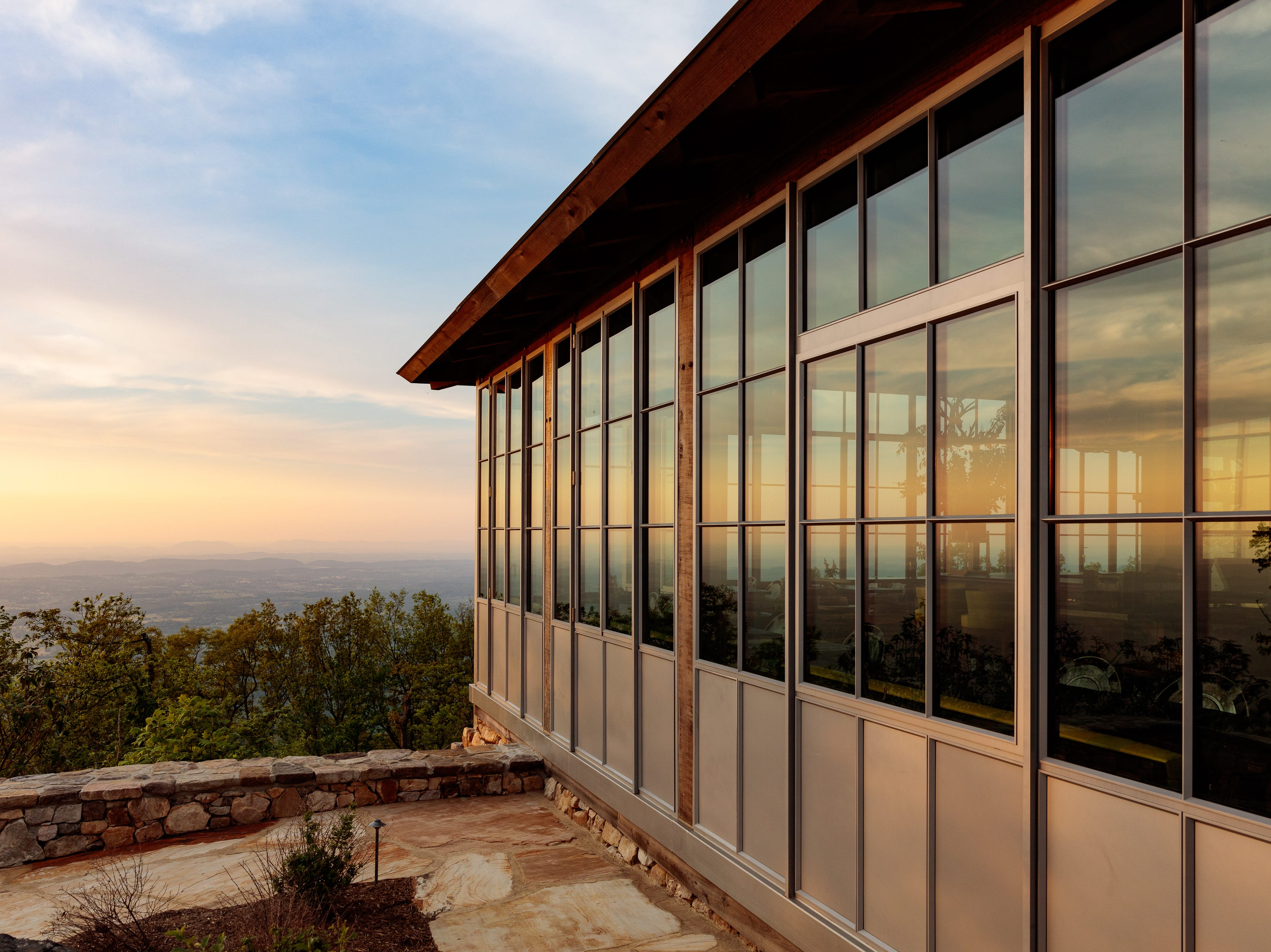 The exterior of Firetower, the casual restaurant serving breakfast, lunch and snacks at Blackberry Mountain, the wellness retreat opening in Feb. 2019 in Walland, Tennessee. It's the sister property to the acclaimed Blackberry Farm.