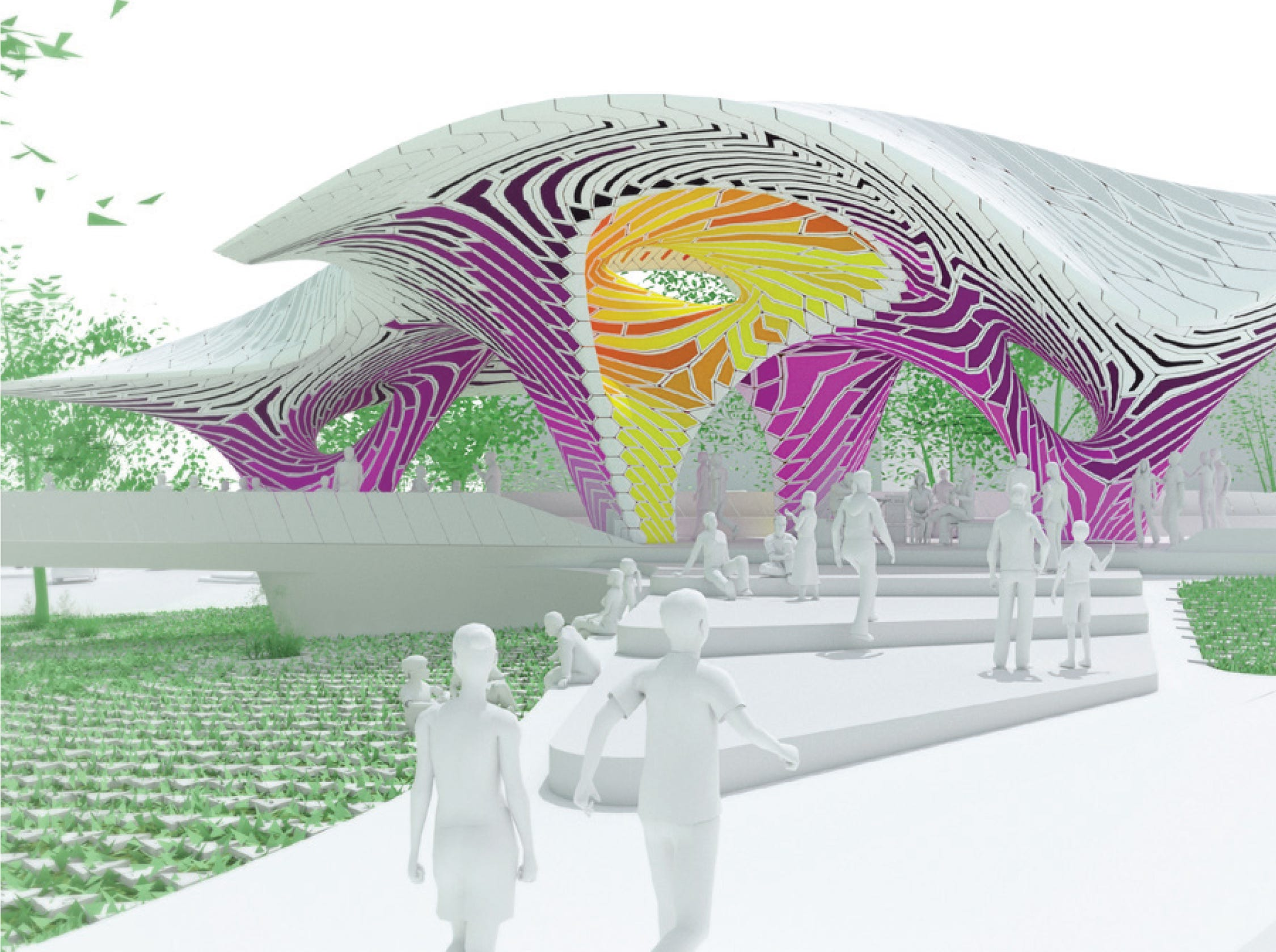 'Pier 865,' a sculpture created from stamped aluminum sheets by the Brooklyn, N.Y. firm THEVERYMANY, is being considered for what's now called the Cradle of Country Music Park in downtown Knoxville at the Summit Hill Drive-Gay Street intersection. While the drawing shows pinks and purples, the stamped aluminum palette would be green, light green, yellow and white.