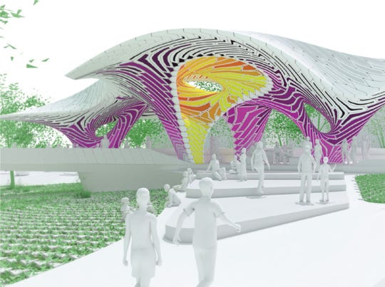 'Pier 865,' a sculpture created from stamped aluminum sheets by the Brooklyn, N.Y. firm THEVERYMANY, will be placed in what's now called the Cradle of Country Music Park in downtown Knoxville at the Summit Hill Drive-Gay Street intersection. While the drawing shows pinks and purples, the stamped aluminum palette would be green, light green, yellow and white.