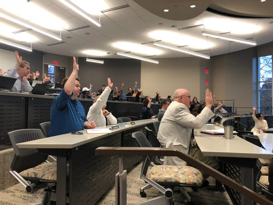 Faculty senators participate in a vote during the November senate meeting on Nov. 19, 2018.