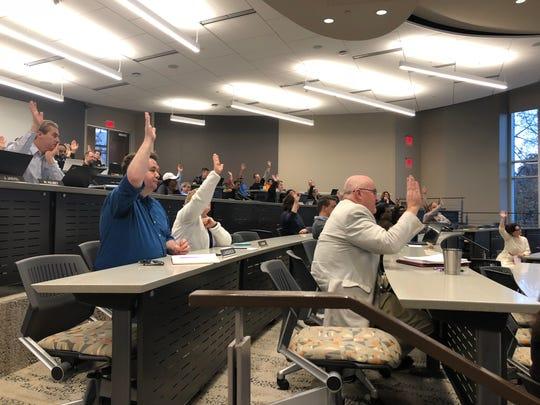 Faculty senators participate in a vote during the November senate meeting on Nov. 19, 2018.