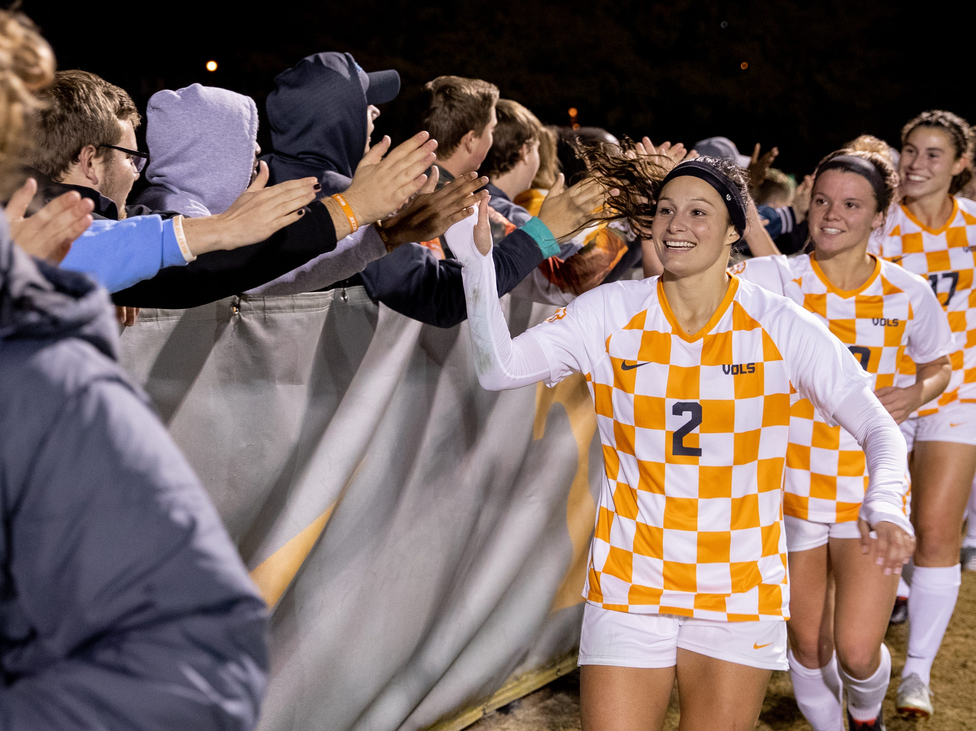 Tennessee senior Danielle Marcano leads her teammates after the Lady Vols defeated Texas A&M 3-0 in the quarterfinals of the NCAA women's soccer tournament at Regal Stadium on Sunday, Nov. 18, 2018.