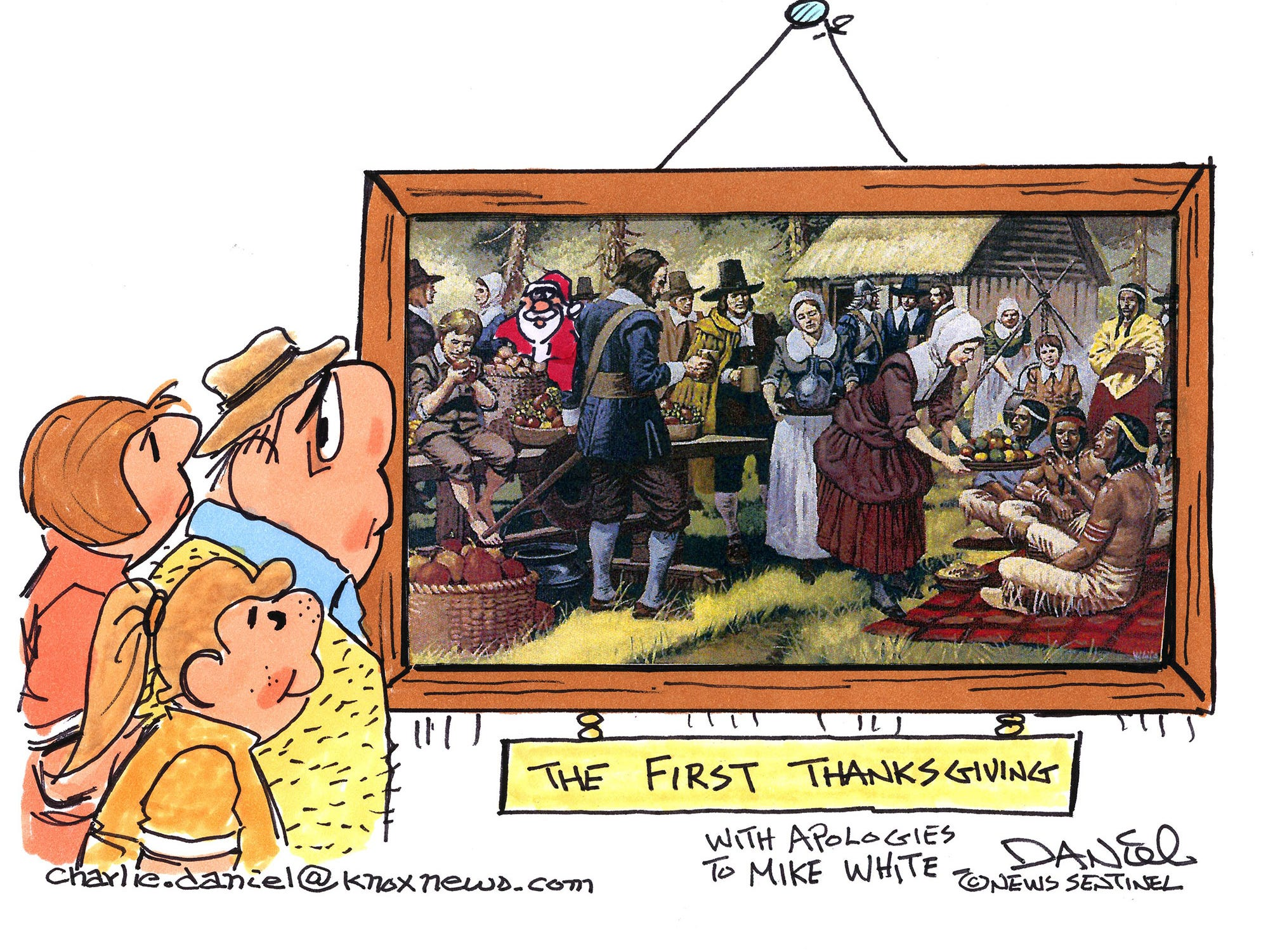 Charlie Daniel editorial cartoon for Thanksgiving Day 2018