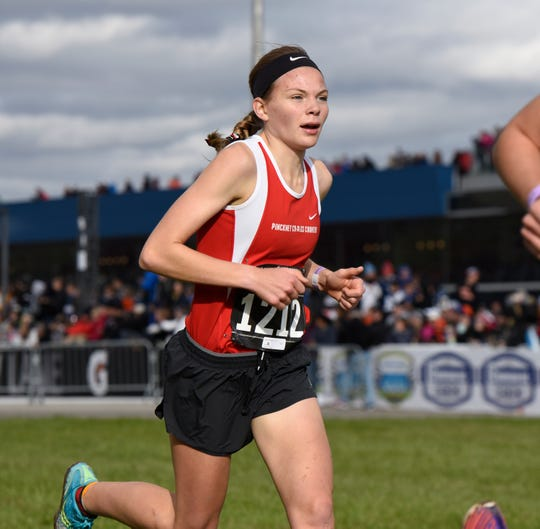 Noelle Adriaens of Pinckney finished ninth in the state Division 1 cross country meet on Saturday, Nov. 3, 2018.