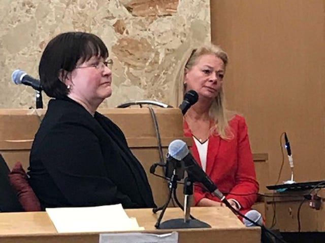 Kristi Cox, Judge Brennan's prior judicial secretary, listens to a question from JTC executive director Lynn Helland Monday Nov. 19, 2018.