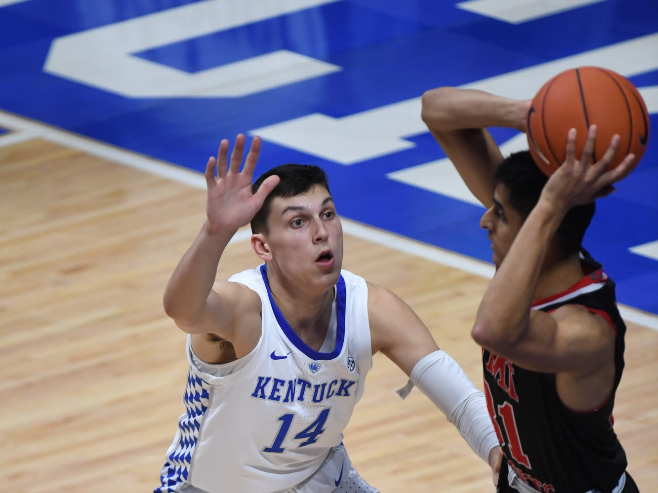 UK G Tyler Herro defends the ball during the University of Kentucky mens basketball game against VMI at Rupp Arena in Lexington, Kentucky on Sunday, November 18, 2018.