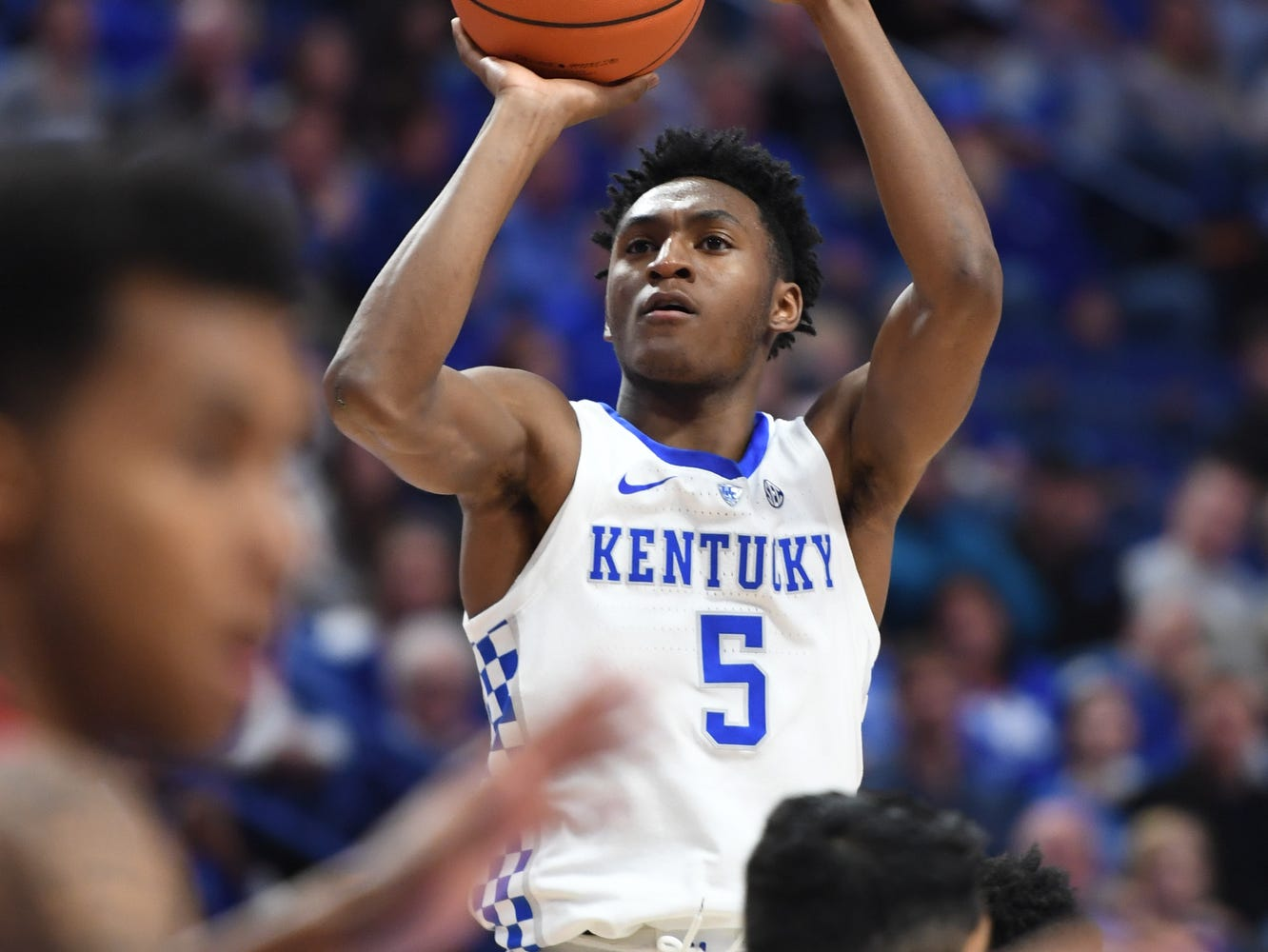 UK G Immanuel Quickley shoots during the University of Kentucky mens basketball game against VMI at Rupp Arena in Lexington, Kentucky on Sunday, November 18, 2018.