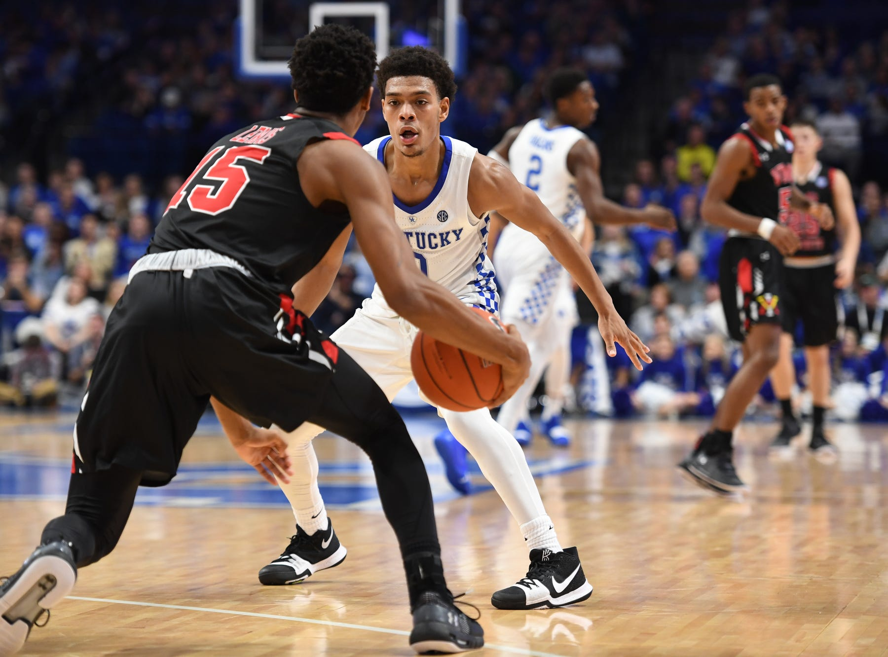 UK G Quade Green defends the ball during the University of Kentucky mens basketball game against VMI at Rupp Arena in Lexington, Kentucky on Sunday, November 18, 2018.