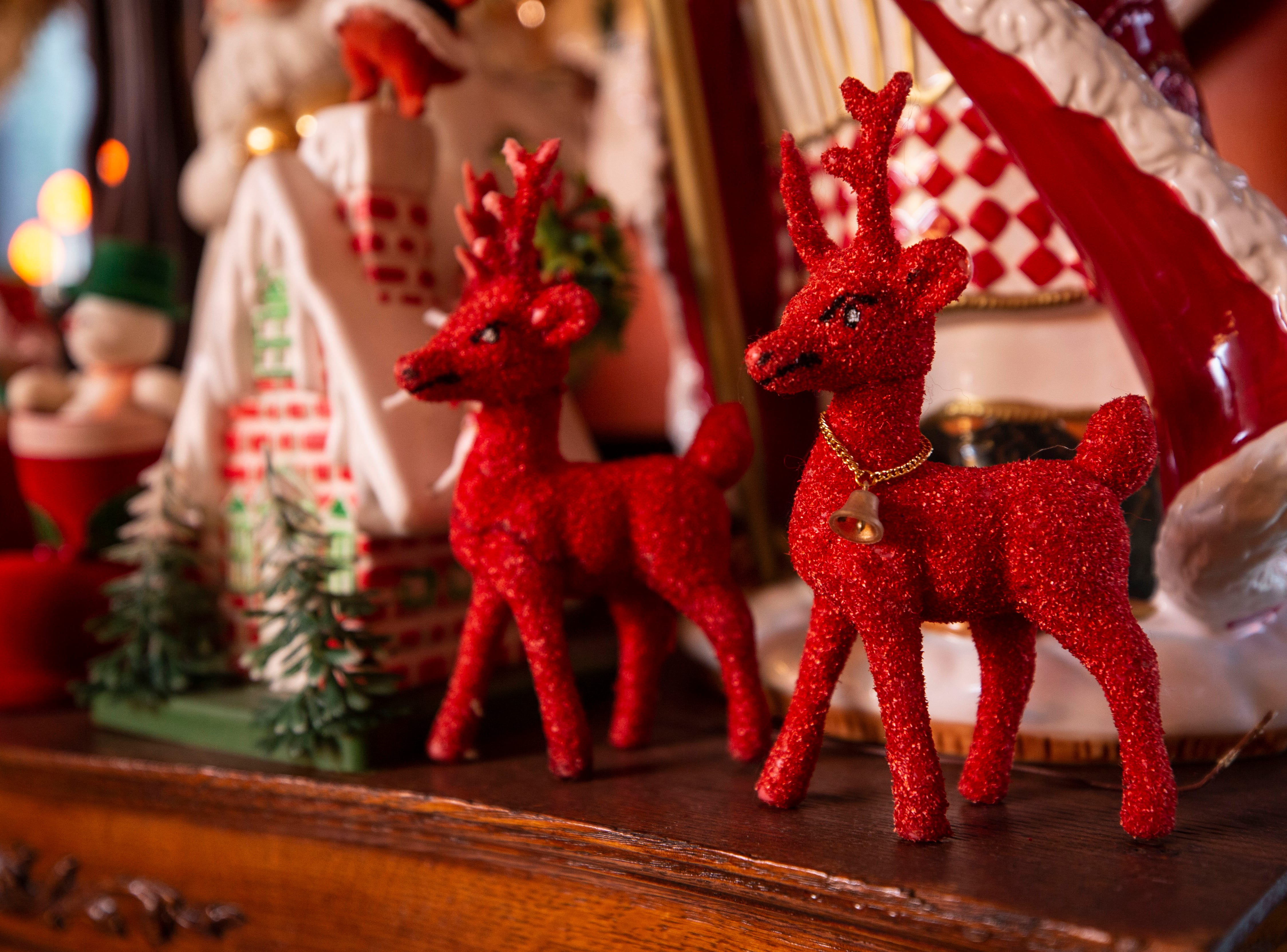 """""""I like to see good craftsmanship,"""" David Brown said. """"It doesn't matter if it's plastic or a $1,000."""" Vintage reindeer decorate the kitchen."""