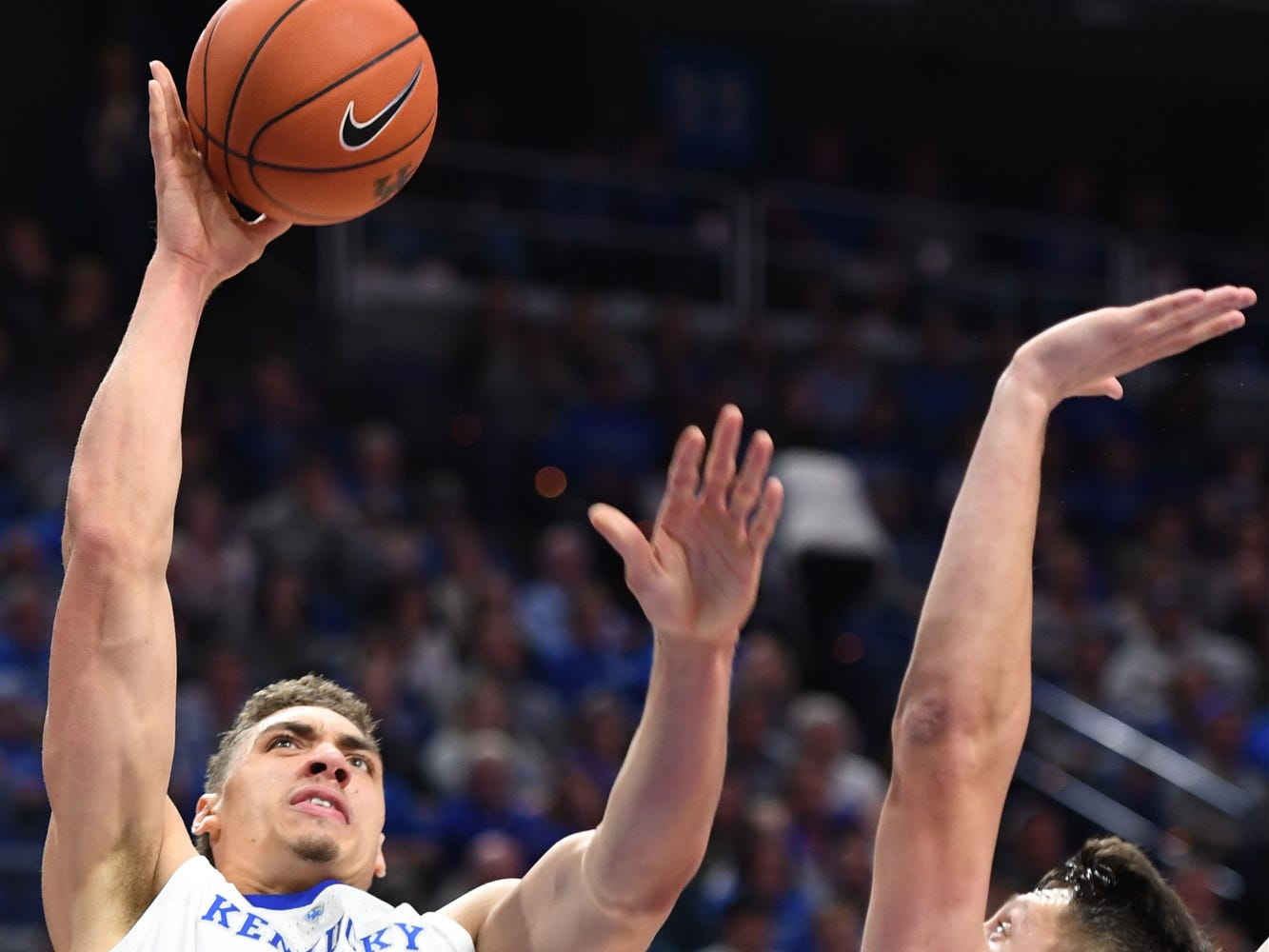 UK F Reid Travis puts up the ball during the University of Kentucky mens basketball game against VMI at Rupp Arena in Lexington, Kentucky on Sunday, November 18, 2018.