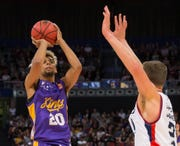 Brian Bowen puts up a shot duringthe Round 1 NBL match between the Sydney Kings and Adelaide 36ers in Australia.