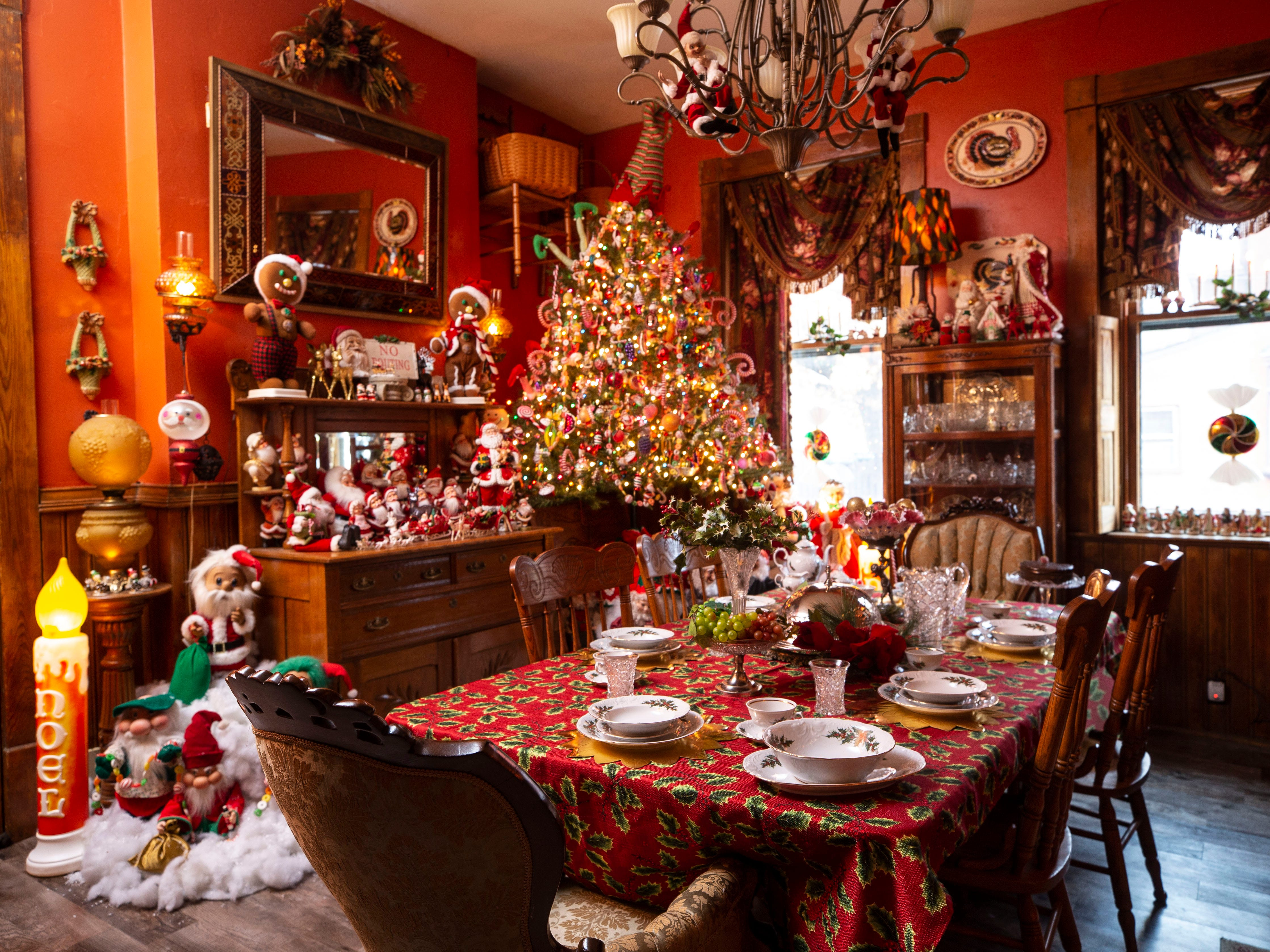 """""""Christmas is a wonderful time of year and I've been very blessed and I like to share what Christmas means to me to other folks,"""" said homeowner David Brown. His kitchen has dozens of vintage decorations."""