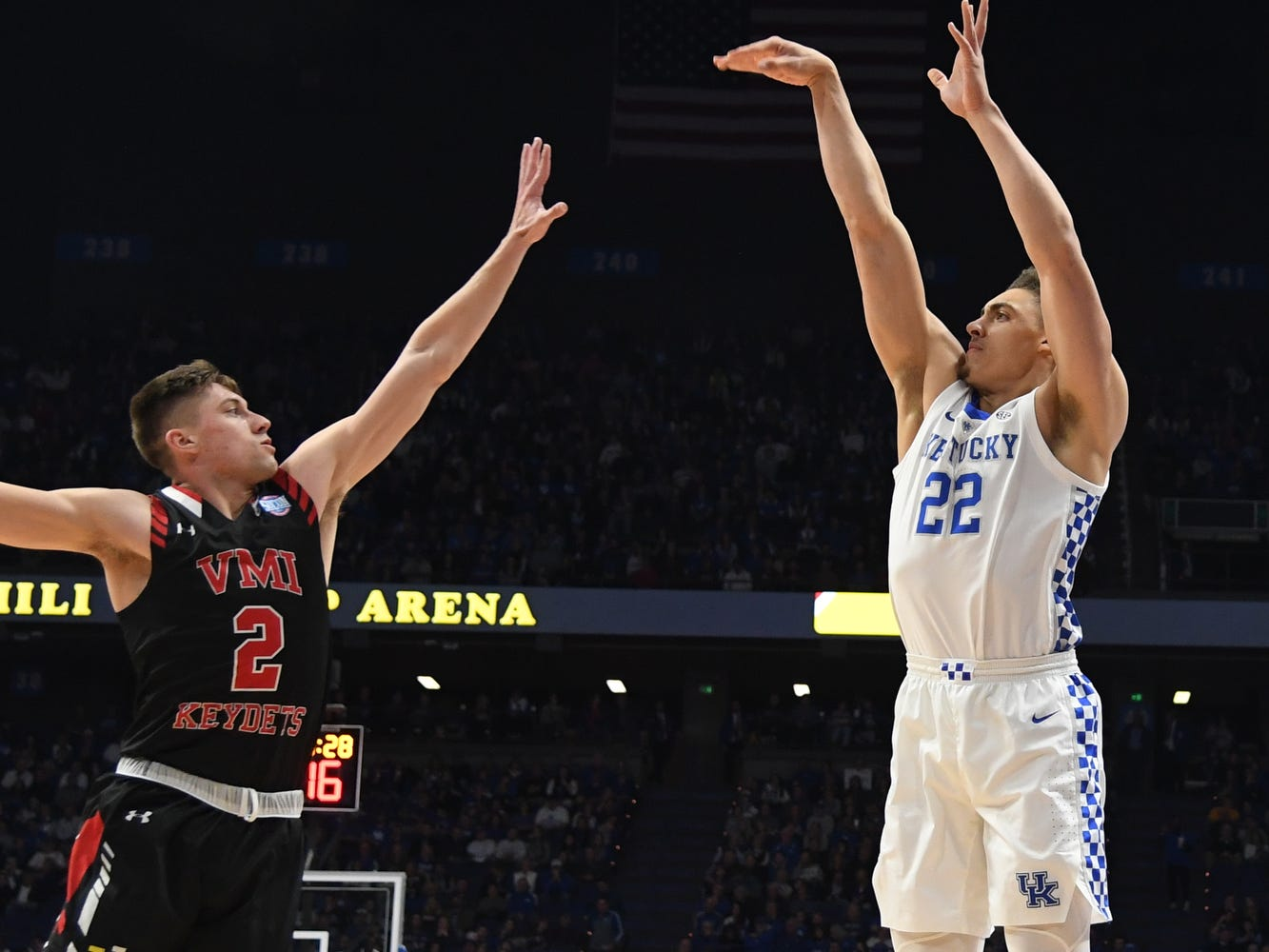 UK F Reid Travis shoots the ball during the University of Kentucky mens basketball game against VMI at Rupp Arena in Lexington, Kentucky on Sunday, November 18, 2018.