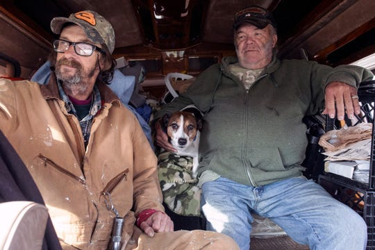 Keith Whalin, Chopper the Dog, and Rocky Cisney will hunker down together this winter in a 1996 Chevy van parked off of Preston Highway. 11/18/18