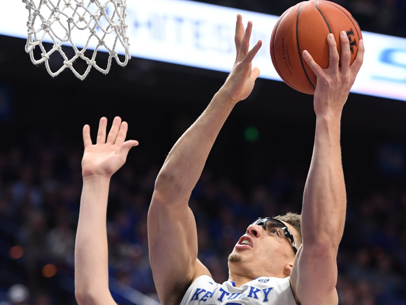 UK F Reid Travis goes up strong with the ball during the University of Kentucky mens basketball game against VMI at Rupp Arena in Lexington, Kentucky on Sunday, November 18, 2018.