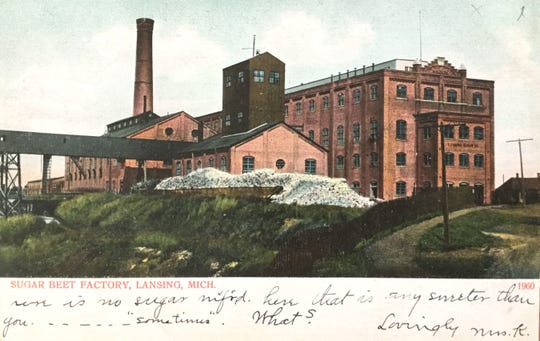 "Postcard depicting ""Sugar Beet Factory, Lansing, Mich,"" 1907. Printed by A. C. Bosselman & Co. Message reads, ""There is no sugar m'f'rd [manufactured] here that is any sweeter than you… 'sometimes'. What? Lovingly Mrs. K."""