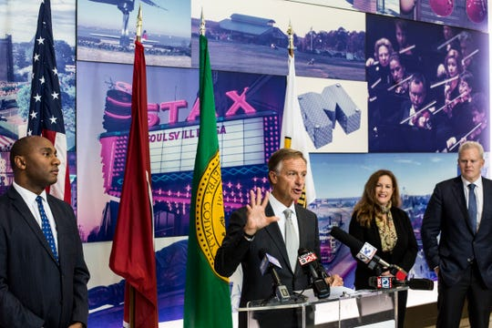 November 19 2018 - Governor Bill Haslam talks during a press conference announcing the relocation of document and manual printer Mimeo.com from New York to Memphis.