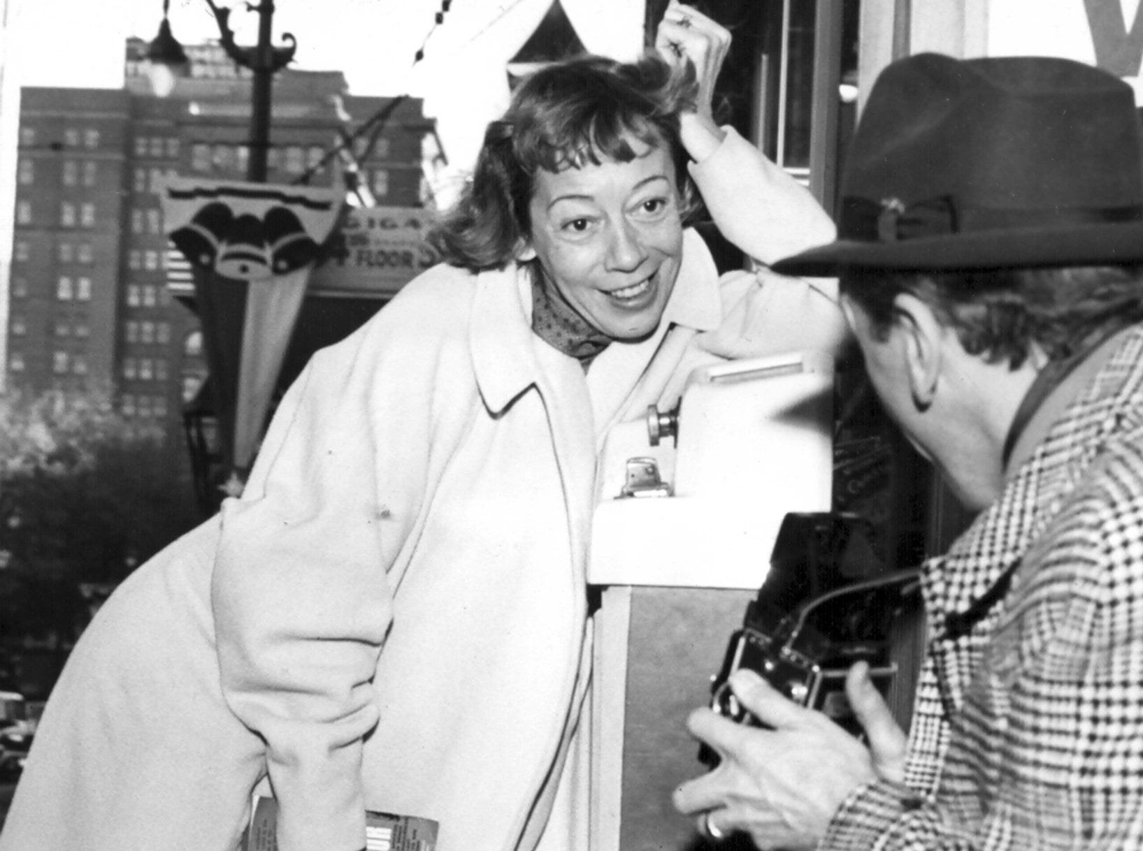 "Actress Imogene Coca ""weighed in"" for the benefit of her husband King Donovan, and his camera, on 29 Nov 1960 when the couple arrived to star in ""Once Upon A Mattress,"" Broadway Theater League attraction at the Auditorium."