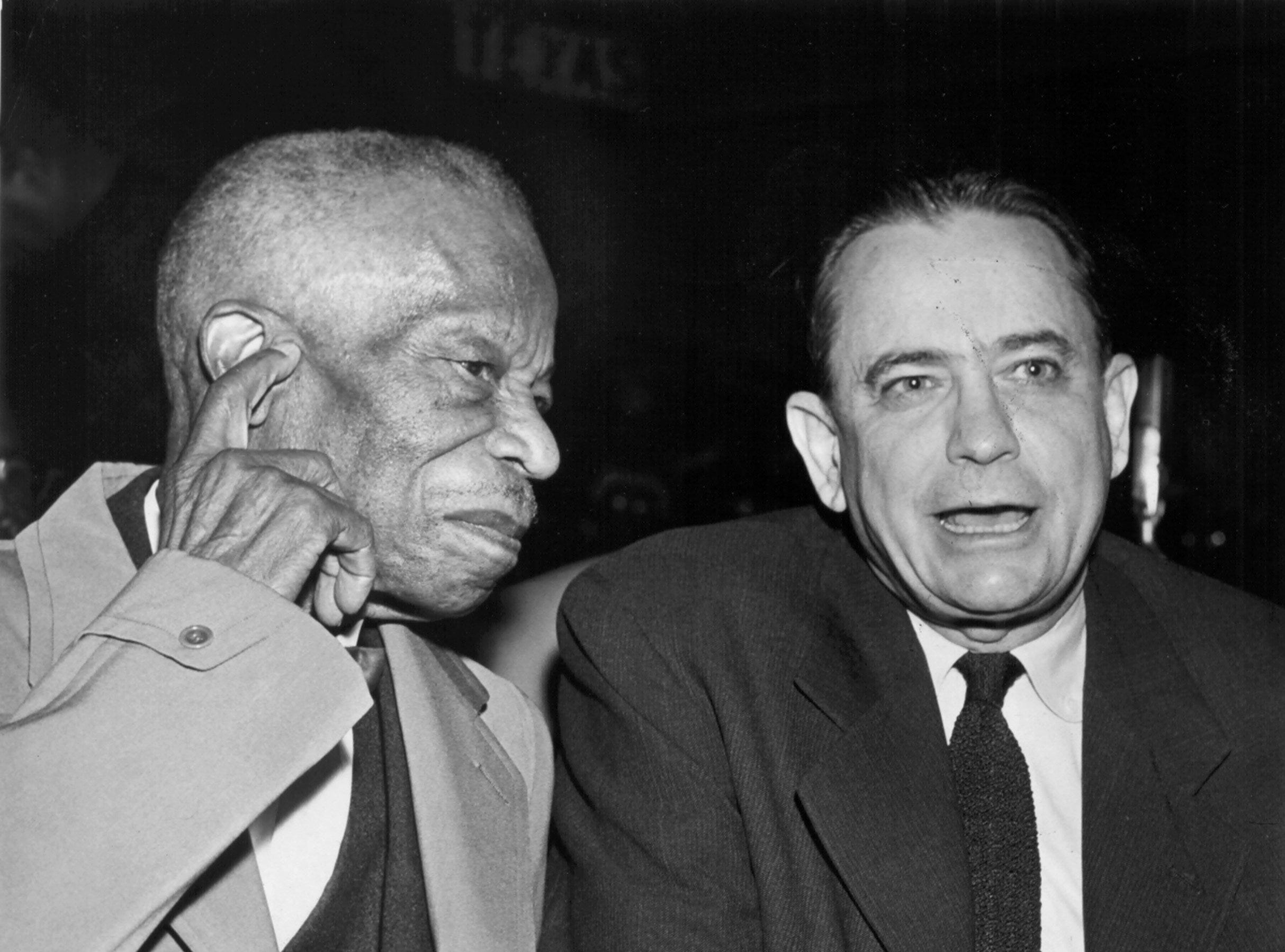 Church of God In Christ Senior Bishop C.H. Mason Sr. (Left) and Mayor Edmund Orgill confer on 3 Dec 1958.